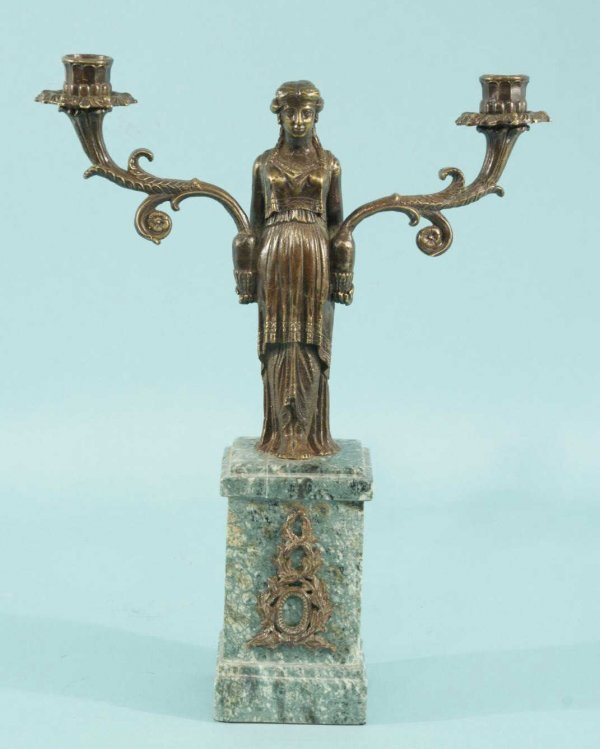 6: BRONZE EMPIRE STYLE CANDELABRUM ON A MARBLE BASE