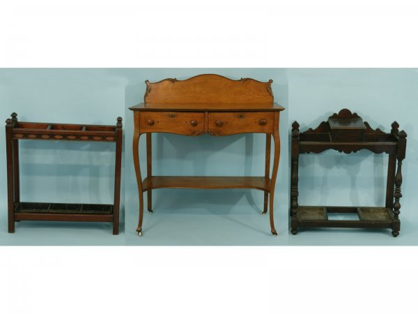 8: AN OAK BUFFET/SIDEBOARD AND TWO CANE STANDS