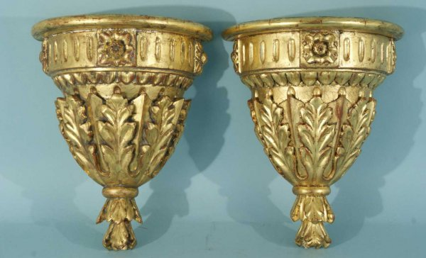 10: PAIR OF WOOD CARVED AND GILDED WALL BRACKETS