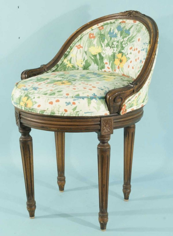 11: SWIVEL FRENCH STYLE DRESSING CHAIR