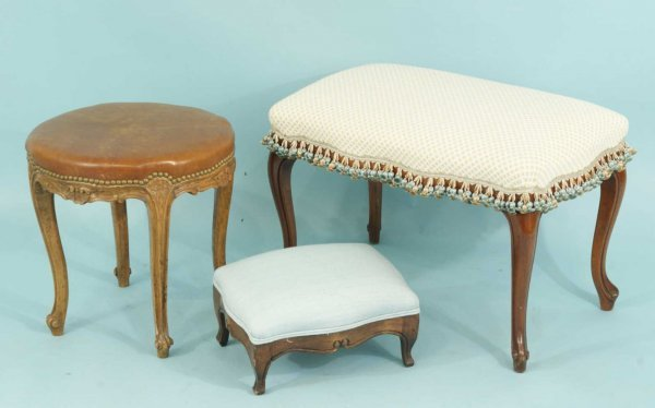 12: LOT OF THREE FRENCH STOOLS