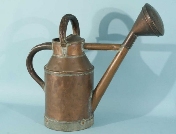 20: ANTIQUE COPPER WATERING CAN, GREEN GLAZED JAR - 4