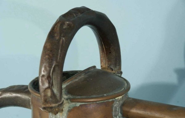 20: ANTIQUE COPPER WATERING CAN, GREEN GLAZED JAR - 5