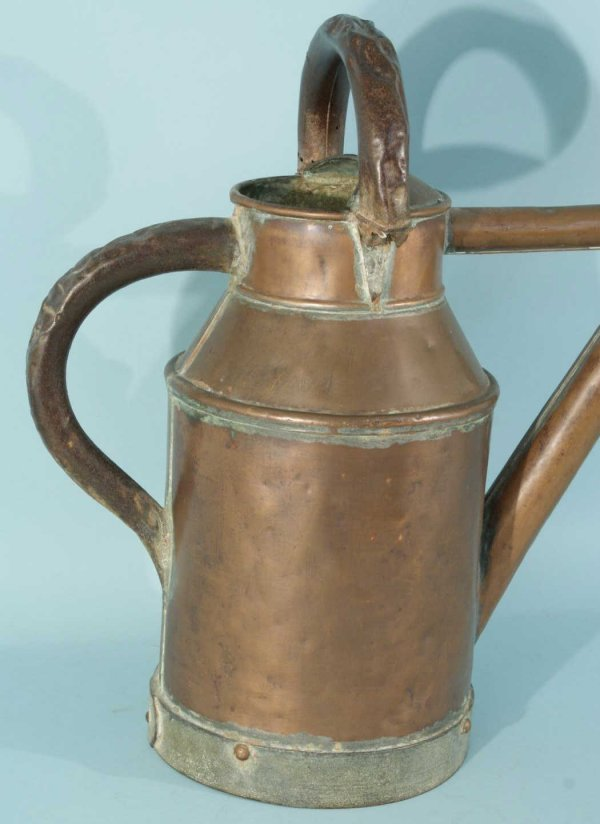 20: ANTIQUE COPPER WATERING CAN, GREEN GLAZED JAR - 7