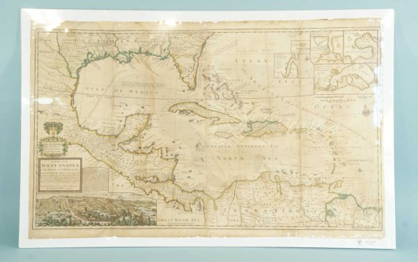 89: ANTIQUE MAP OF THE WEST INDIES, CIRCA 1715