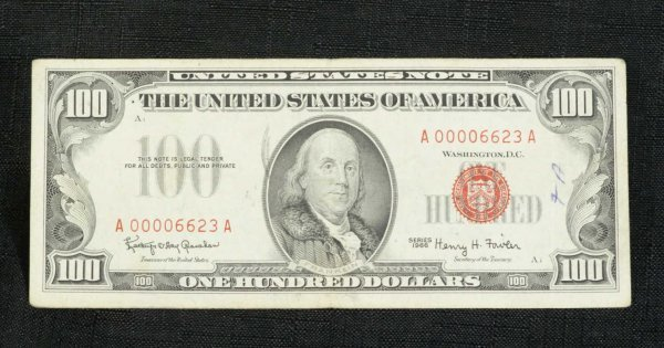 15C: 1966 $100.00 RED SEAL U.S. NOTE VERY FINE SCARCE.