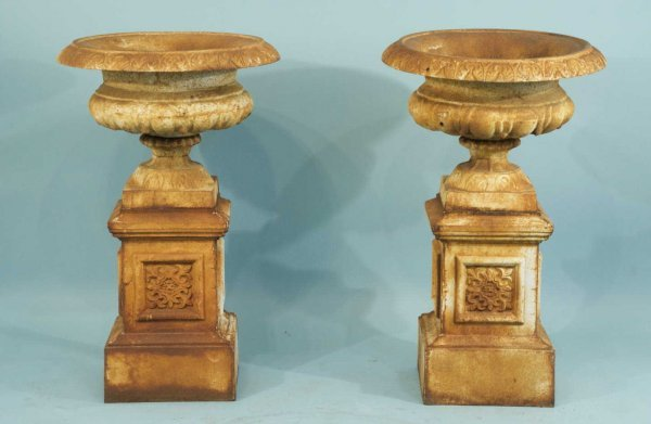 2: LARGE ENGLISH ANTIQUE IRON GARDEN URNS & BASES
