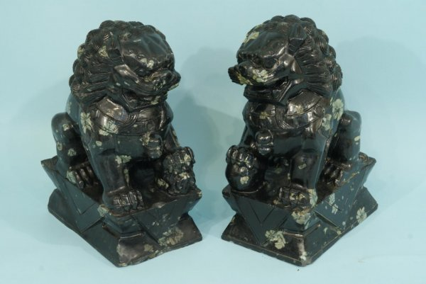 3: PAIR OF CARVED MARBLE FOO LIONS