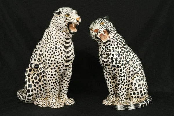 5: PAIR OF MAJOLICA LEOPARD FIGURES