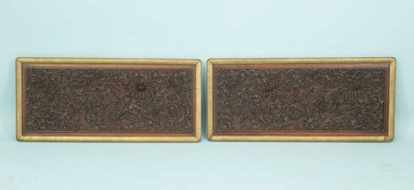7: PAIR OF ANTIQUE WOOD CARVED WALL HANGING PANELS