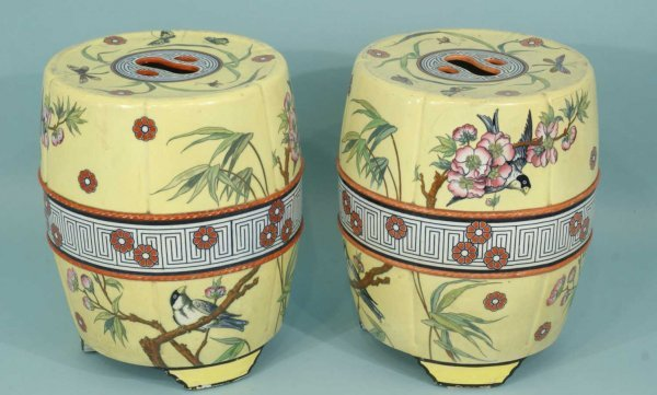 13: PAIR ENGLISH ARTS & CRAFTS GARDEN STOOLS BY MINTON