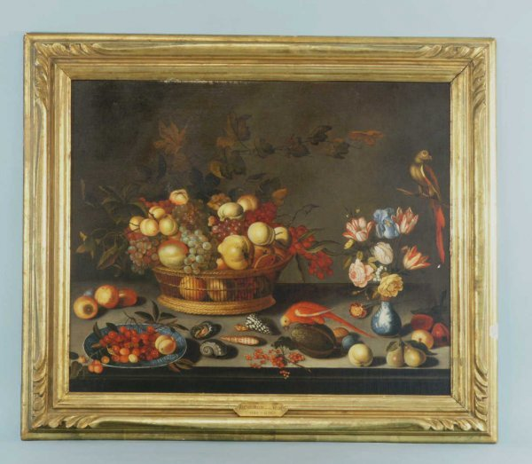 18: FRUIT IN A BASKET BY VAN DER HELST, CIRCA 17th C.