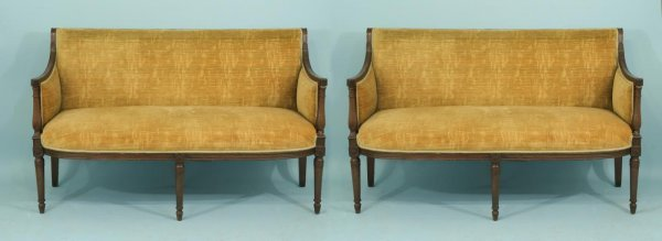 23: PAIR OF ANTIQUE FRENCH DIRECTOIRE STYLE SETTEES