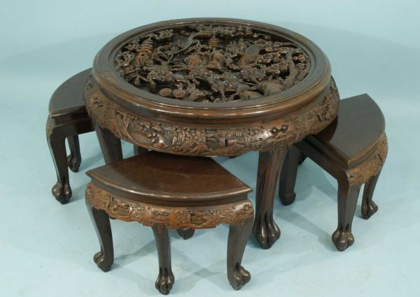 28: ANTIQUE CHINESE CARVED WOOD NEST OF TABLES