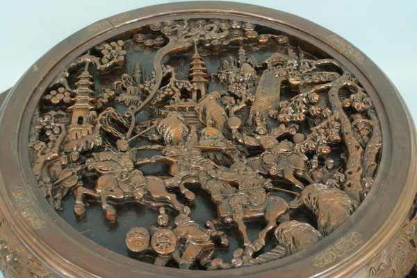28: ANTIQUE CHINESE CARVED WOOD NEST OF TABLES - 2