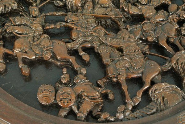28: ANTIQUE CHINESE CARVED WOOD NEST OF TABLES - 4