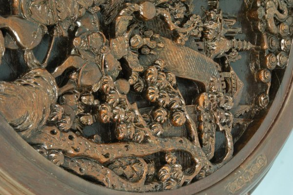 28: ANTIQUE CHINESE CARVED WOOD NEST OF TABLES - 6