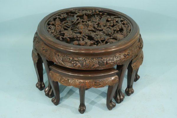 28: ANTIQUE CHINESE CARVED WOOD NEST OF TABLES - 7