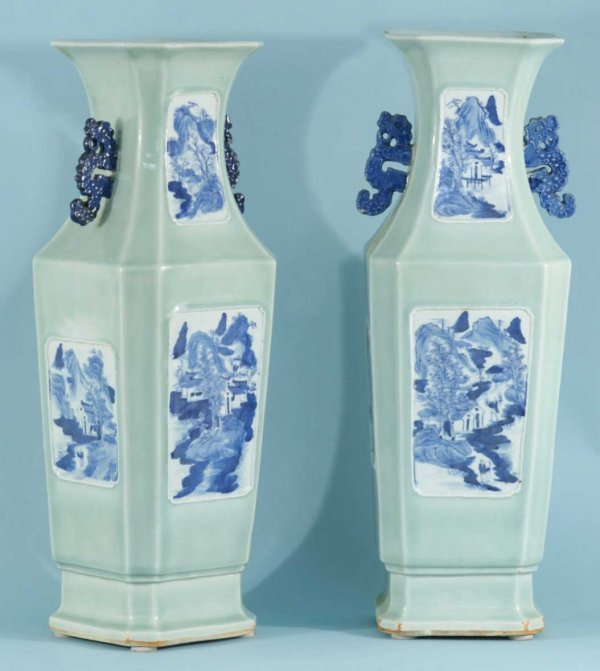 77: ANTIQUE CHINESE CELEDON BLUE AND WHITE VASES