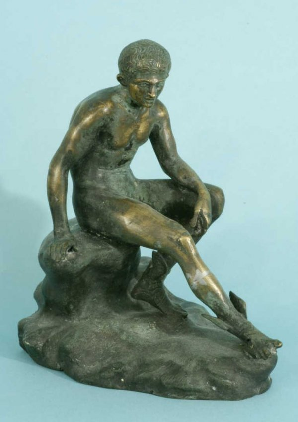 16A: ANTIQUE BRONZE SEATED FIGURE OF HERMES