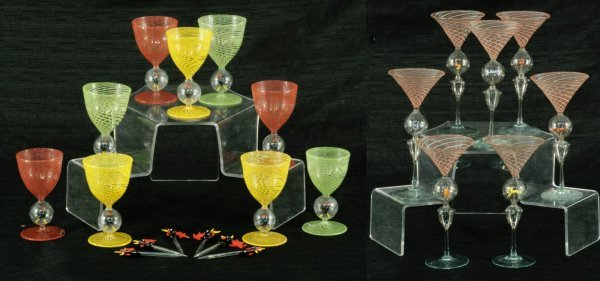15: MURANO ANIMAL MOTIF GLASSES AND SWIZZLE STICKS