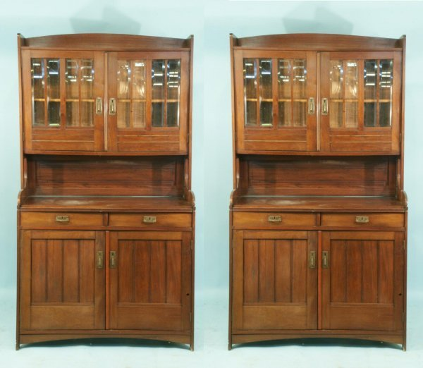 17: TWO ARTS & CRAFTS TWO-PIECE BOOKCASES, CIRCA 1900