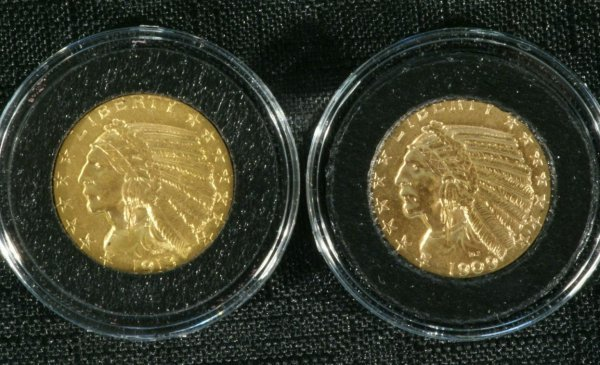 17A: 1909,1913 $5.00 INDIAN CHOICE ABT. UNC. COINS