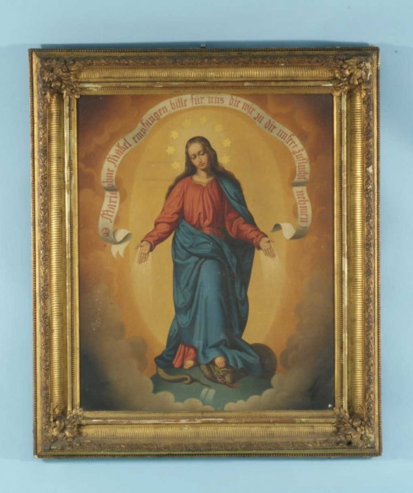 "18: FRAMED OIL ON CANVAS ""VIRGIN MARY"""