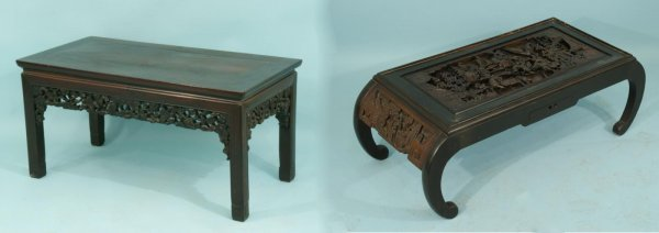 98: TWO ANTIQUE CHINESE CARVED COFFEE TABLES