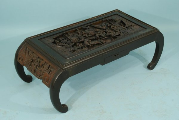 98: TWO ANTIQUE CHINESE CARVED COFFEE TABLES - 2