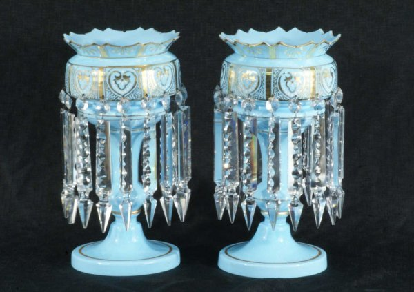 126A: PAIR OF BLUE LUSTER LAMPS WITH DROP CRYSTALS