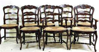 SET OF EIGHT COUNTRY FRENCH CHAIRS