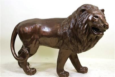 LIFE-SIZE BRONZE PATINAED ZINC LION FIGURE