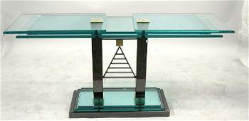 CONTEMPORARY GLASS  CHROME CONSOLE TABLE
