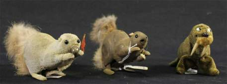 MIXED LOT THREE RARE ANTIQUE TIN WITH FUR WIND-UP TOYS