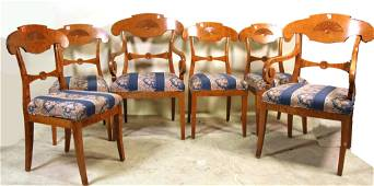 SET OF SIX BIRCH DINING TABLE CHAIRS
