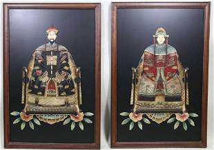 TWO CHINESE HARDSTONE INLAID ANCESTORAL PORTRAITS