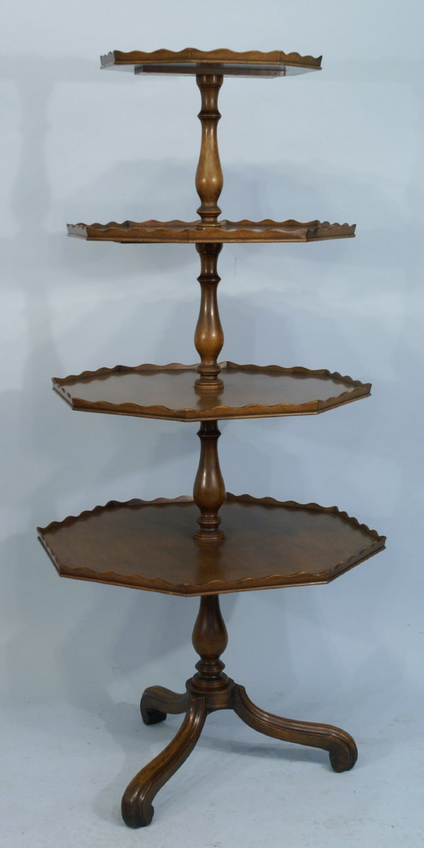 4: A FINE ENGLISH MAHOGANY FOUR-TIERED DUMBWAITER