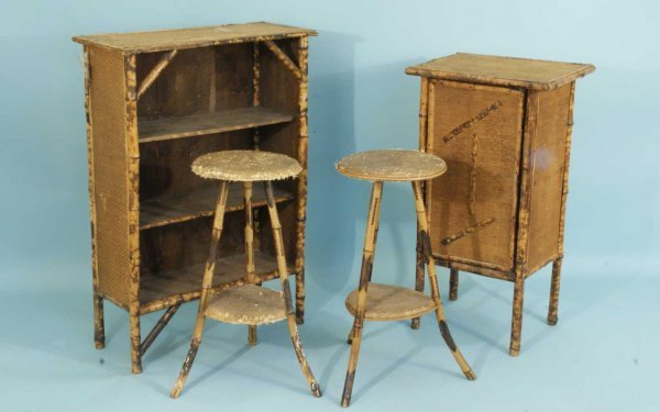 5: ANTIQUE BURNT BAMBOO STANDS, BOOKSHELF AND CABINET