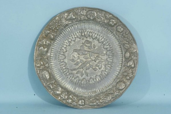 6: 18th CENTURY DUTCH PEWTER CHARGER WITH REPOUSSE