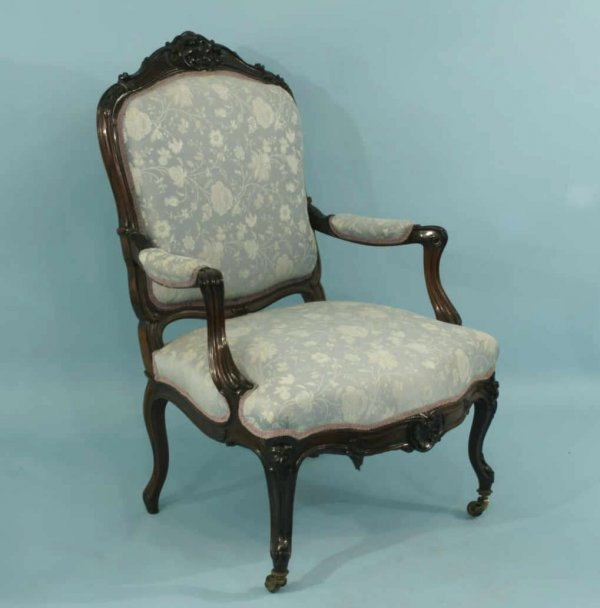 11: FRENCH CARVED ROSEWOOD ARMCHAIR, CIRCA 1850