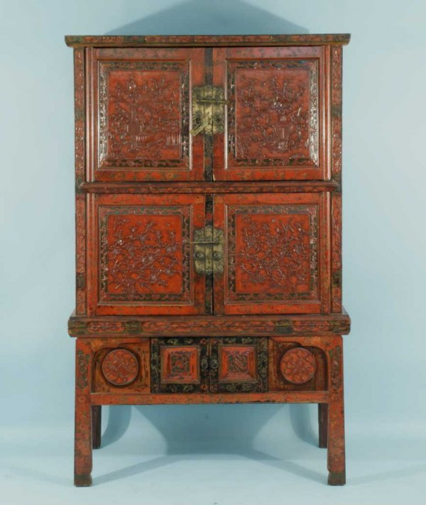 14: CHINESE RED LACQUER CABINET, CIRCA 19th CENTURY