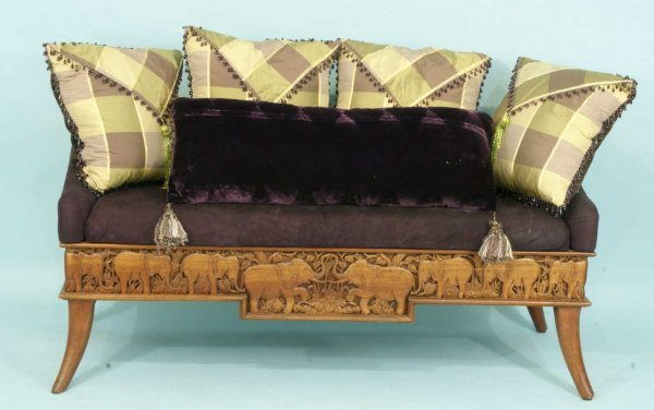 16: EXOTIC WOOD CARVED ELEPHANT MOTIF BENCH