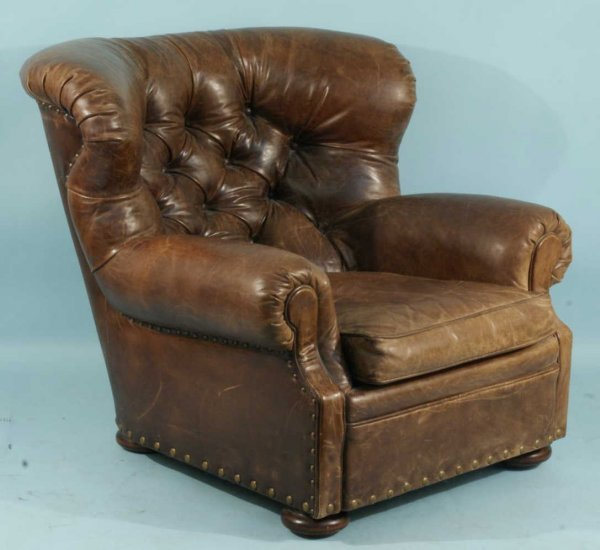 61: LEATHER BUTTON-TUFTED WING CHAIR BY RALPH LAUREN