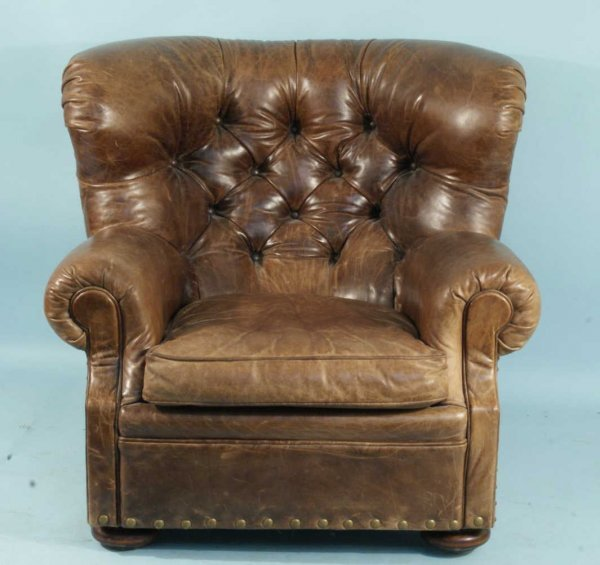61: LEATHER BUTTON-TUFTED WING CHAIR BY RALPH LAUREN - 2
