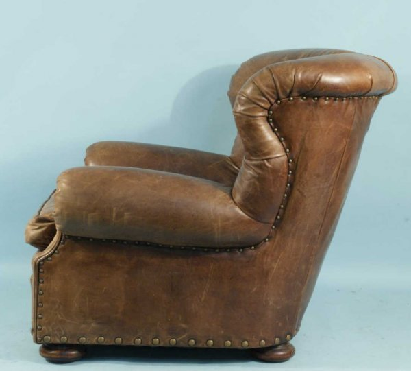 61: LEATHER BUTTON-TUFTED WING CHAIR BY RALPH LAUREN - 3