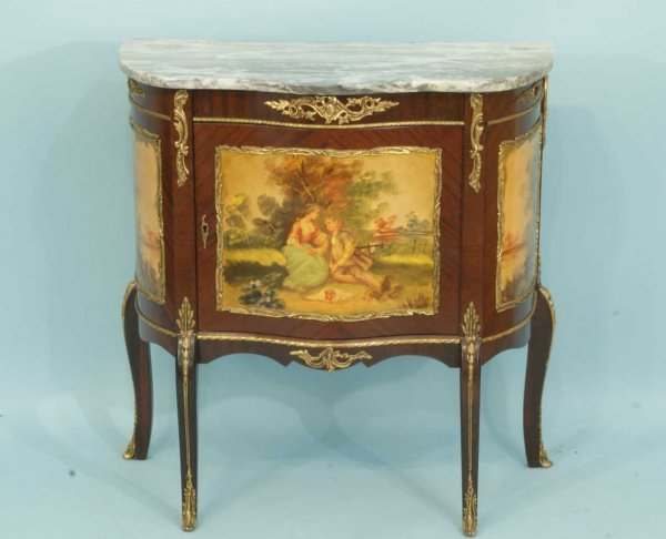 73: FRENCH MARBLE TOP CABINET W/ PAINTED GARDEN SCENE
