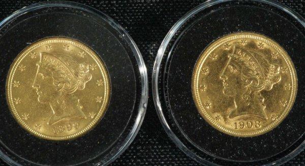 15A: 1899-S, 1908 $5.00 CHOICE NEAR MINT+ COINS
