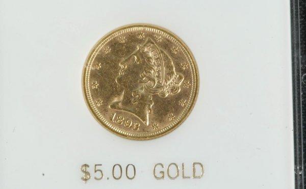 15C: 1893 $5.00 CHOICE NEAR MINT+ GOLD COIN