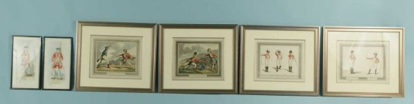 4: TWO WATERCOLORS & FOUR HAND COLORED ENGRAVINGS